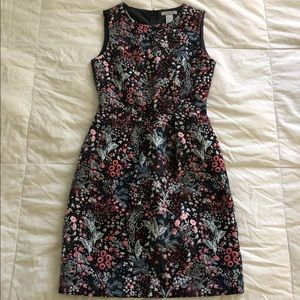 H & M brocade black floral sheath dress
